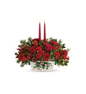 Teleflora's Holly Glow Centerpiece (T18X105A)